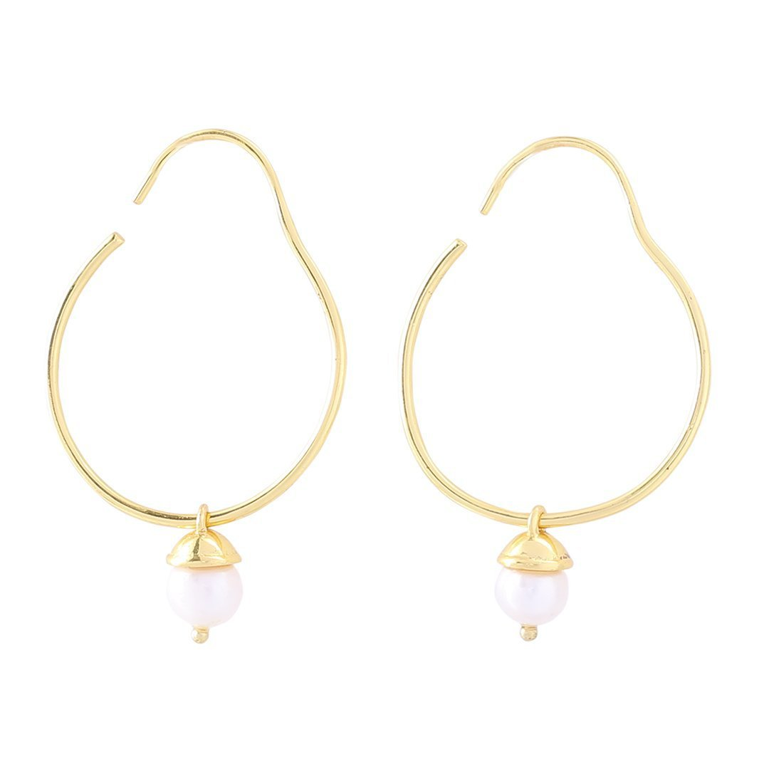 Sabyavi Hoops Pearl Gold Plated Hoops Sterling Silver