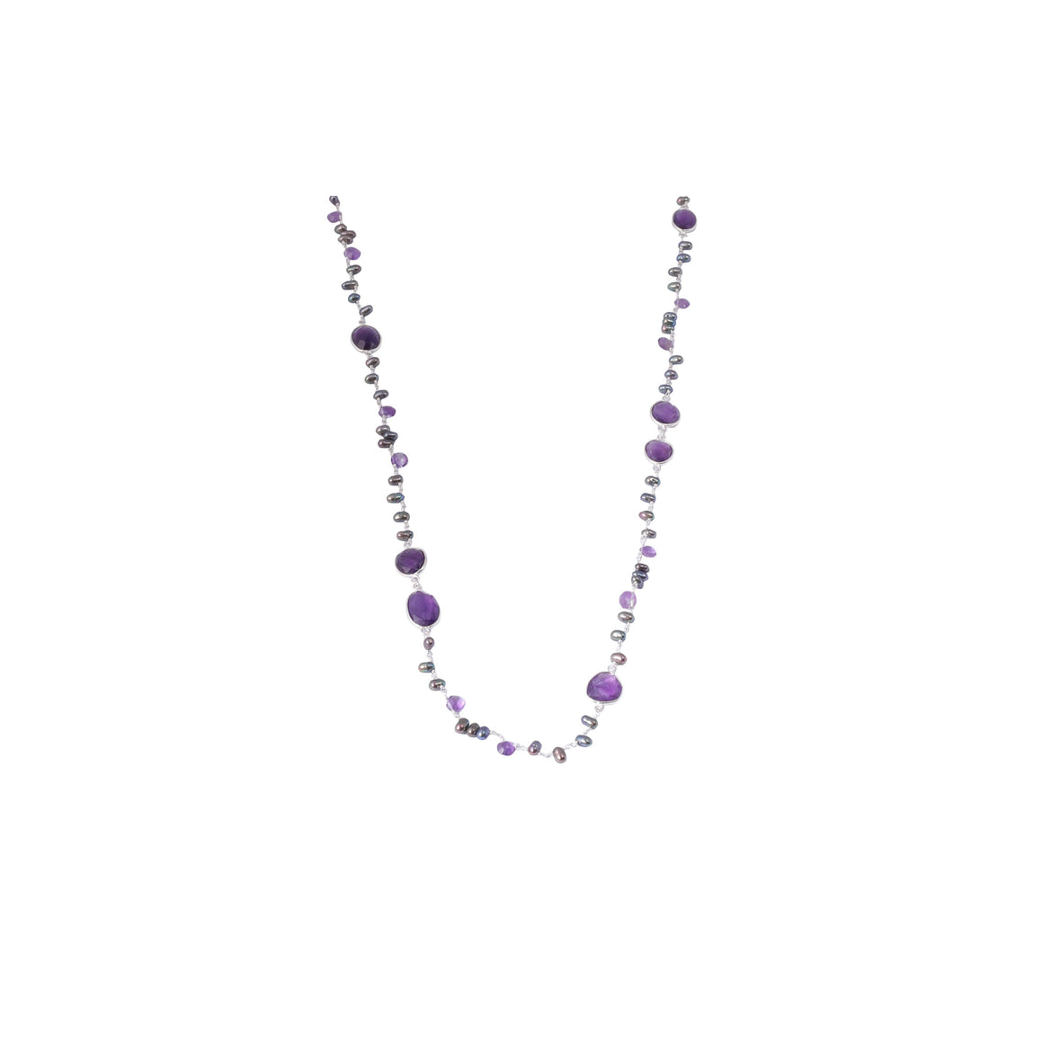 Sabyavi Pendant Amethyst and Grey Rice Pearls Lariat Sterling Silver
