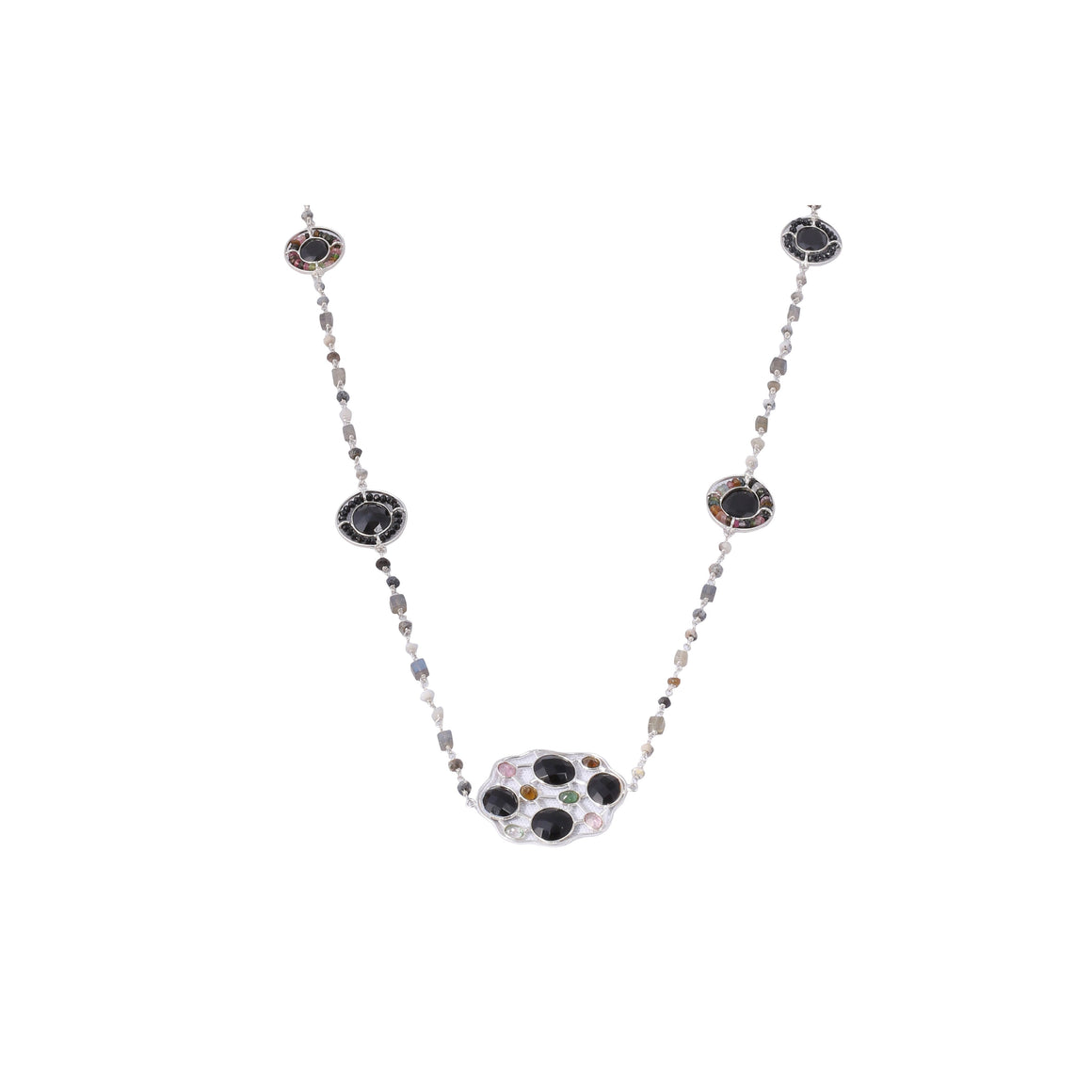 Sabyavi Pendant Black Onyx and Tourmaline Lariat Sterling Silver