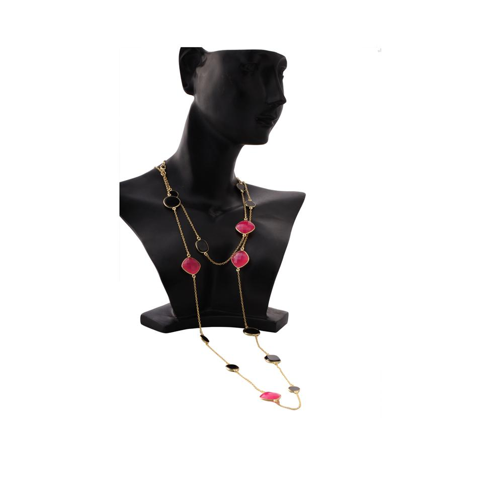 Sabyavi Pendant Black & Pink Onyx Lariat Gold Plated Sterling Silver