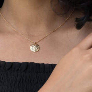 Sabyavi Pendant Gold Beaten Disc Chain Pendant Sterling Silver