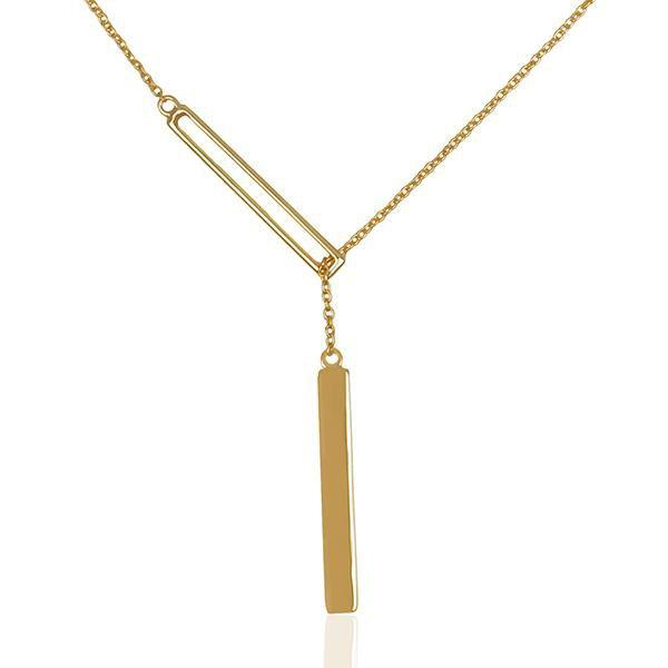 Sabyavi Pendant Gold Vertical Bar Chain Pendant Sterling Silver