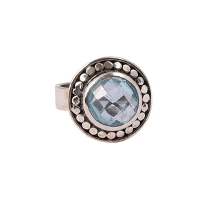 Sabyavi Ring Antique Polish Blue Topaz Bezel Set Ring Sterling Silver