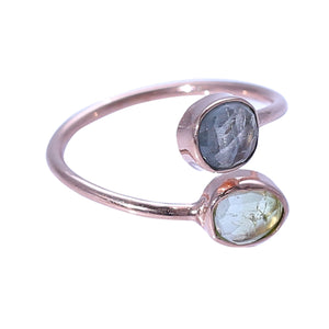 Sabyavi Ring Blue and Green Tourmaline Bezel Set Rose Plated Ring Sterling Silver
