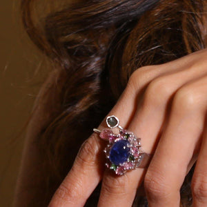 Sabyavi Ring Blue Onyx and Tourmaline Cluster Prong Set Ring Sterling Silver