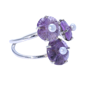 Sabyavi Ring Carved Amethyst and Pearl Prong Set Ring Sterling Silver