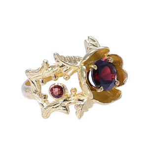 Sabyavi Ring Rose Gold Garnet Prong Set Ring Sterling Silver