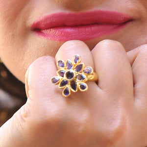 Sabyavi Ring Gold Kyanite Floral Cluster Ring Sterling Silver