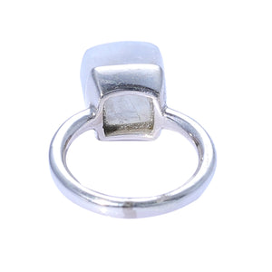 Sabyavi Ring Gold Moonstone Bezel Set Ring Sterling Silver