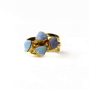 Sabyavi Ring Opal Cluster Bezel Set Ring Sterling Silver