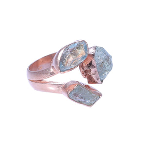 Sabyavi Ring Gold Rough Fluorite Cluster Ring Sterling Silver