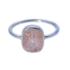 Sabyavi Ring Gold Sunstone Bezel Set Ring Sterling Silver