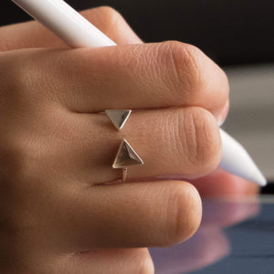 Sabyavi Ring Gold Triangular Ring Sterling Silver