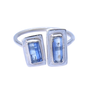 Sabyavi Ring Gold Two Stone Baguette Blue Kyanite Bezel Set Ring Sterling Silver