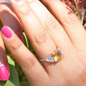 Sabyavi Ring Golden Topaz and Zircon Ring Sterling Silver