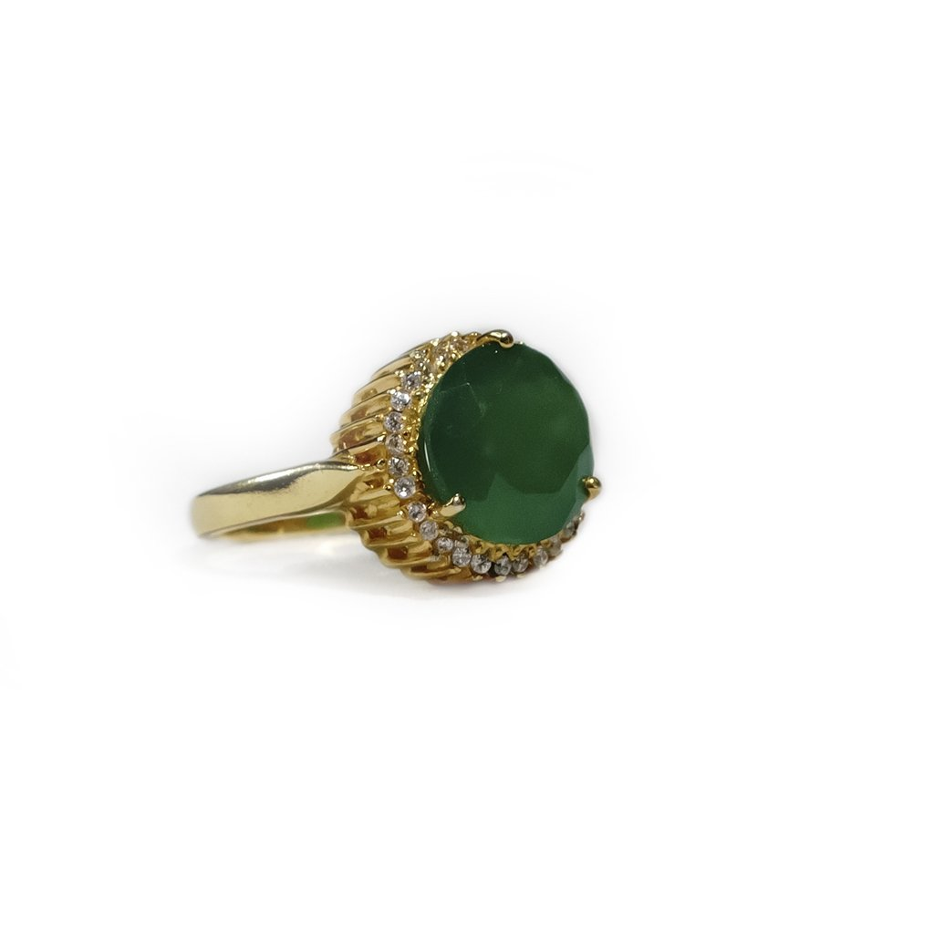 Sabyavi Ring Green Onyx and Zircon Ring Gold Plated Sterling Silver