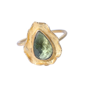 Sabyavi Ring Green Quartz Textured Gold Plated Ring Sterling Silver