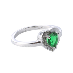 Sabyavi Ring Green Stone Zircon Ring Sterling Silver