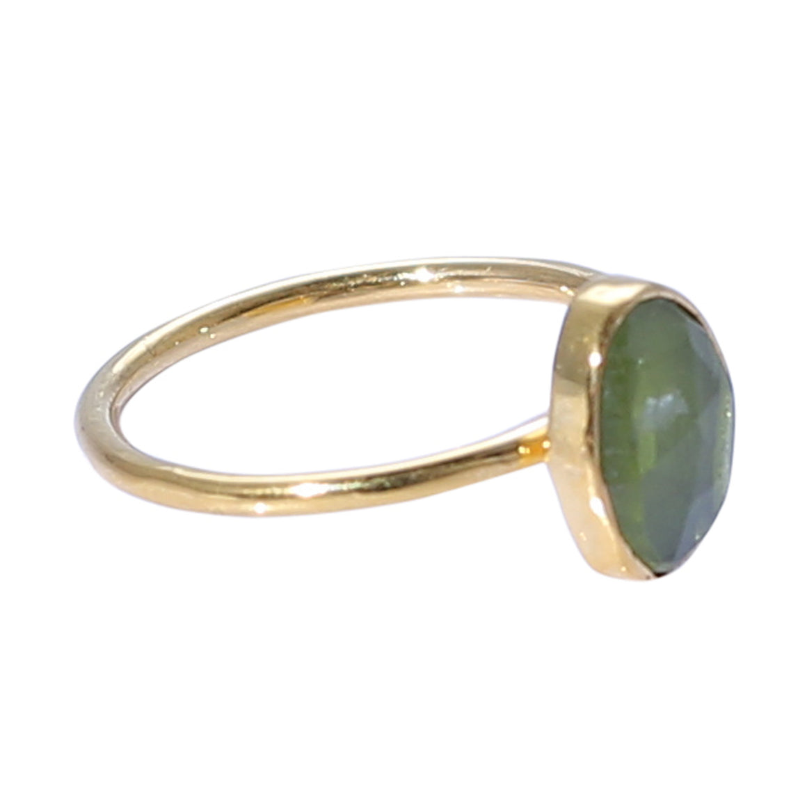 Sabyavi Ring Green Tourmaline Bezel Set Gold Plated Ring Sterling Silver