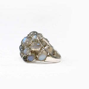 Sabyavi Ring White Labradorite Prong Set Cluster Ring Sterling Silver