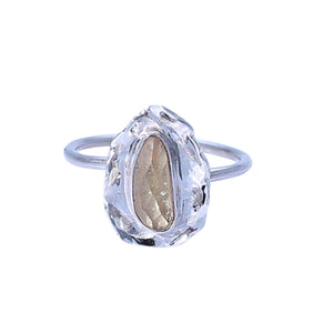 Sabyavi Ring Lemon Quartz Textured Ring Sterling Silver