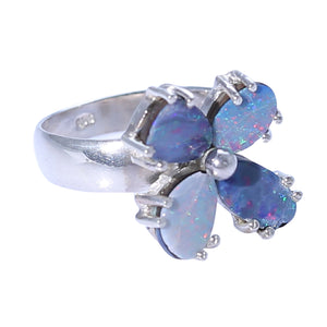 Sabyavi Ring Opal and Pearl Prong Set Floral Ring Sterling Silver