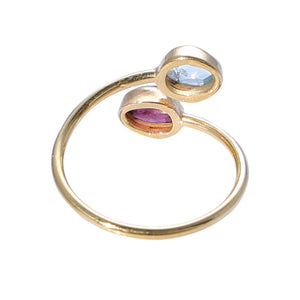 Sabyavi Ring Pink and Green Tourmaline Gold Plated Ring Sterling Silver