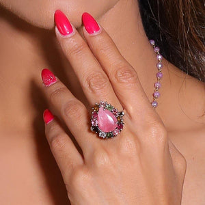 Sabyavi Ring Rhodochrosite and Tourmaline Prong Set Ring Sterling Silver