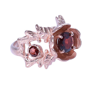 Sabyavi Ring Gold Garnet Prong Set Ring Sterling Silver
