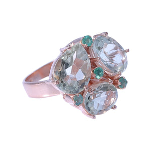 Sabyavi Ring Rose Gold Green Fluorite and Green Onyx Cluster Ring Sterling Silver