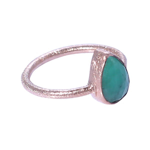 Sabyavi Ring Rose Gold Green Onyx Bezel Set Ring Sterling Silver