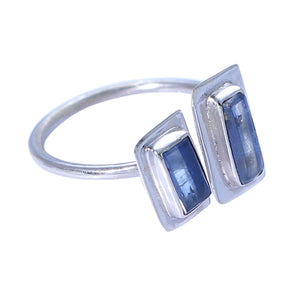 Sabyavi Ring Silver Two Stone Baguette Blue Kyanite Bezel Set Ring Sterling Silver