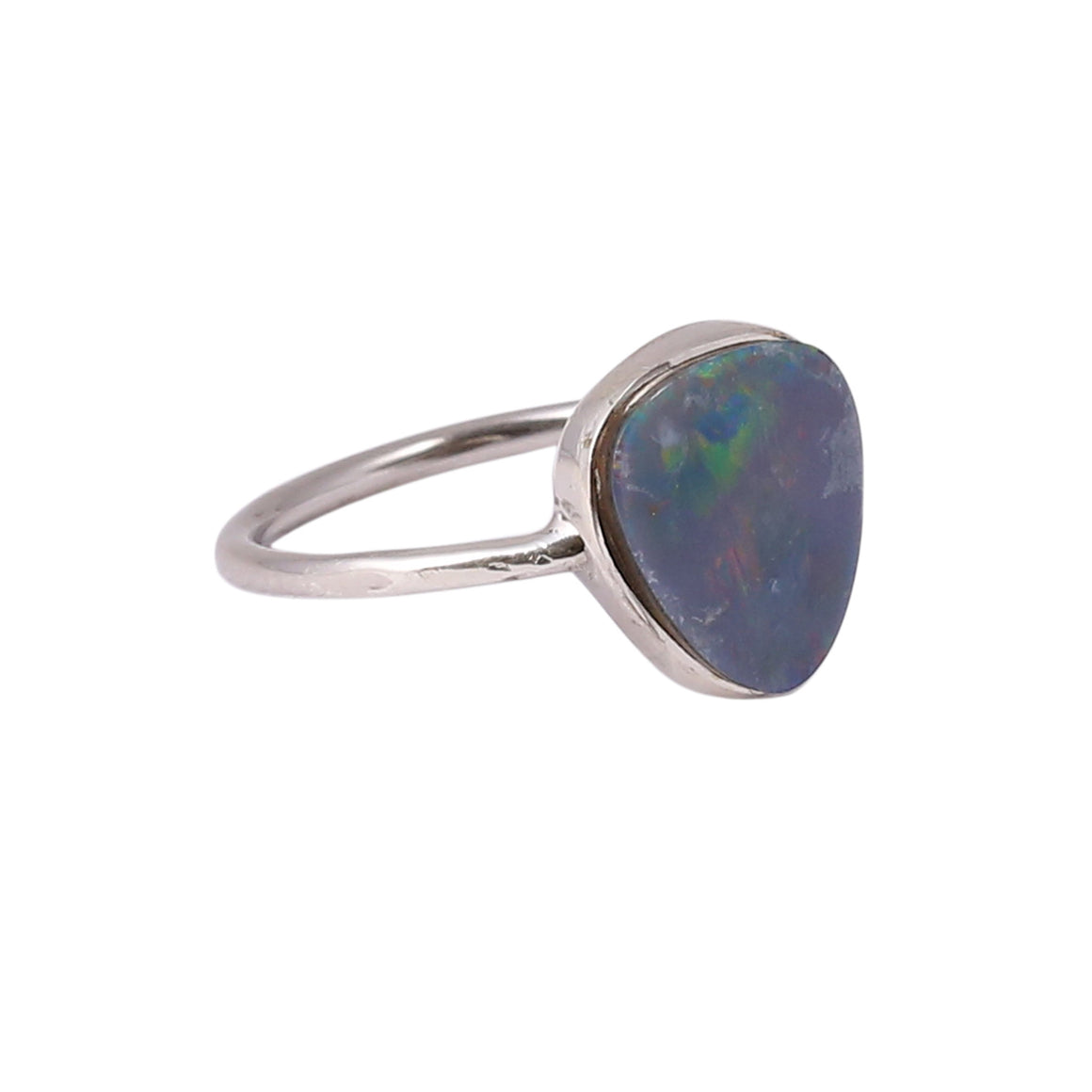 Sabyavi Ring Rose Gold Triangle Opal Bezel Set Ring Sterling Silver