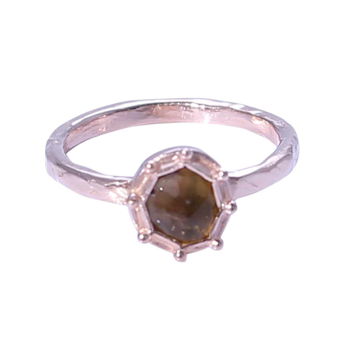 Sabyavi Ring Yellow Tourmaline Bezel Set Ring Sterling Silver