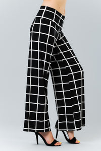 Checkmate Black and White Wide Leg Pants