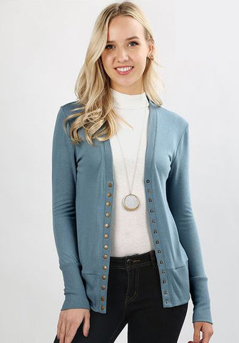 Oh Snap Button Cardi in Plum and Blue Slate