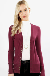 Oh Snap Button Cardi with Wine