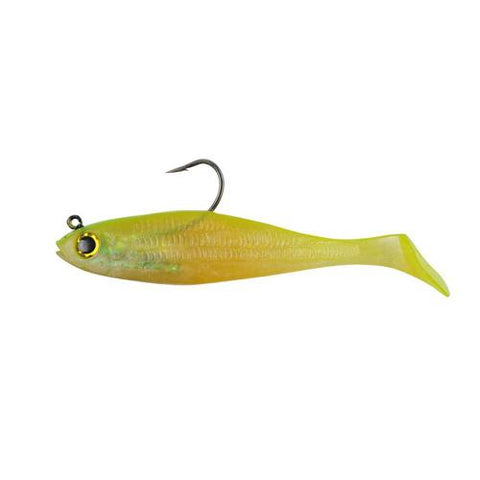 "PowerBait Swim Shad Soft Bait 4"" Length, Shiner Chartreuse, Per 3"
