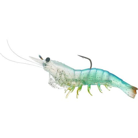 "Rigged Shrimp Soft Plastic Saltwater, 4"", #2/0 Hook, Variable Depth, White Shrimp, Per 4"