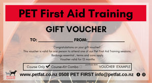 Gift Voucher - individual booking + pet first aid kit  SAVE !