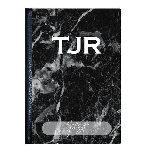 Black Marble Print Monogram Passport Cover - TheJetSetUK