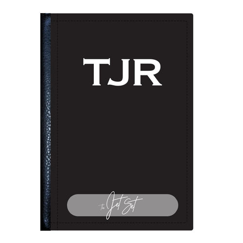 Black Monogram Passport Cover - TheJetSetUK