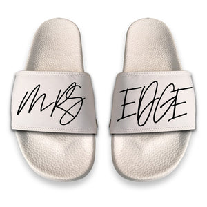 Personalised Sliders - White With Hadwritten Font - TheJetSetUK
