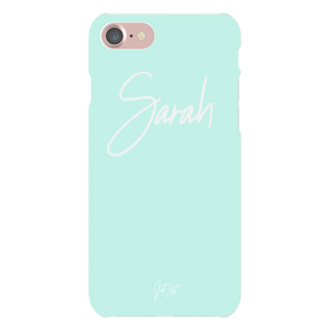 Personalised Handwritten iPhone Case in Peppermint Blue - TheJetSetUK