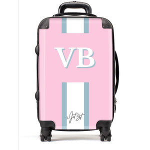 Stripe Monogram Personalised Suitcase in Pink - TheJetSetUK