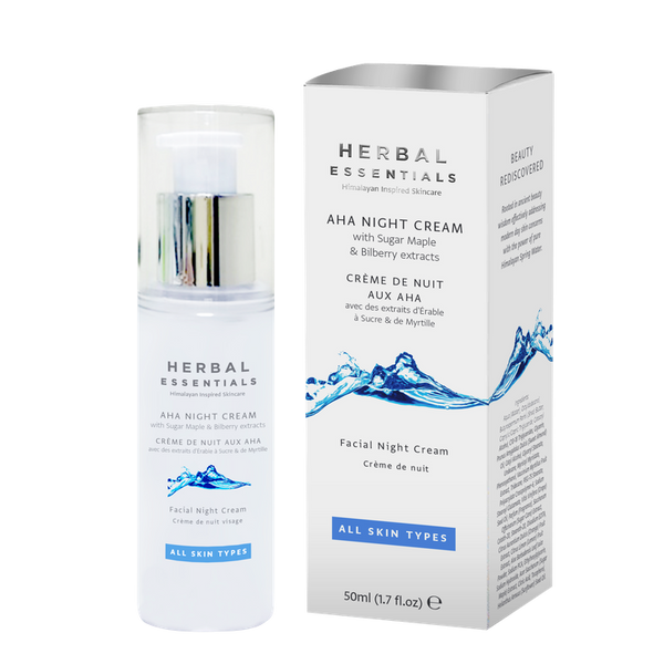 Aha Night Cream With Sugar Maple & Bilberry Extracts-Herbal Essentials-UAE-BEAUTY ON WHEELS