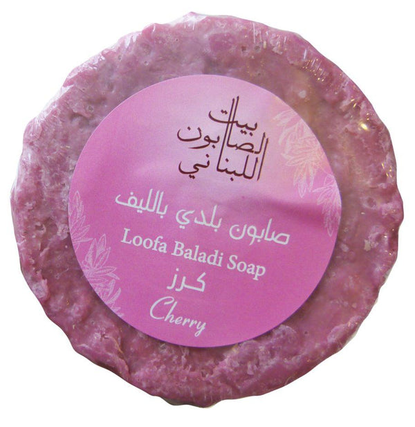 Bayt Al Saboun-Cherry Loofa Baladi Soap 300G Online UAE | BEAUTY ON WHEELS