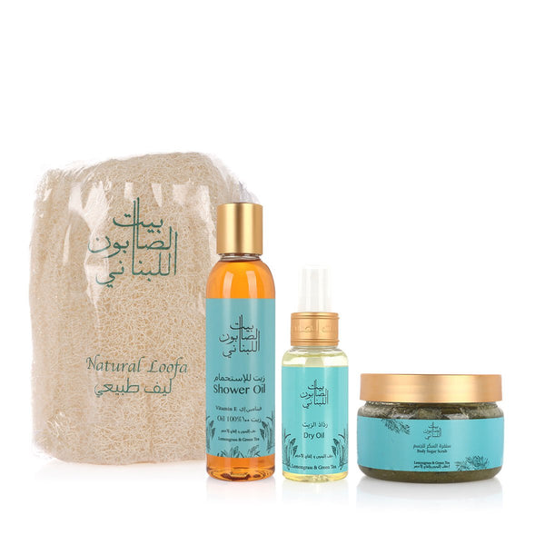Bayt Al Saboun-Lemon Grass & Green Tea Kit - 4 pcs-BEAUTY ON WHEELS