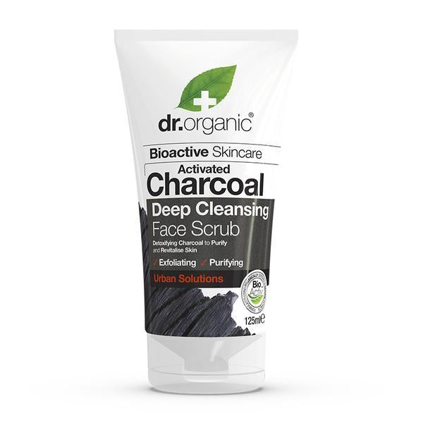 Charcoal Face Scrub 125ml-Dr Organic-UAE-BEAUTY ON WHEELS