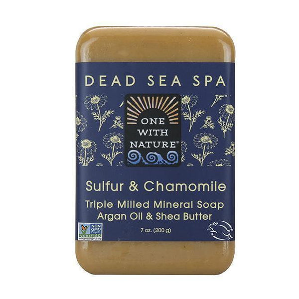 Dead Sea Sulfur & Chamomile Bar Soap-One With Nature-UAE-BEAUTY ON WHEELS